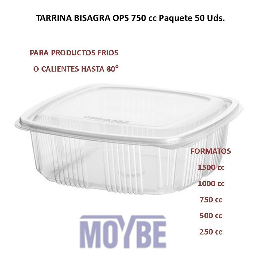 Tarrina Tapa Bisagra OPS 750c.c. (50 Unidades)