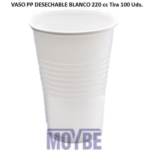 Vaso Desechable Blanco 220 cc Tira 100 Unidades