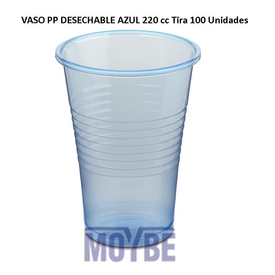 Vaso PP Desechable Azul 200 c.c. Tira 100 Unidades