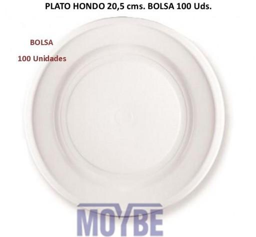 Plato Hondo Plástico Blanco 20,5 centímetros Bolsa de 100 Unidades