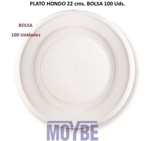 Plato Desechable Hondo 22 Centímetros Paquete 100 Unidades