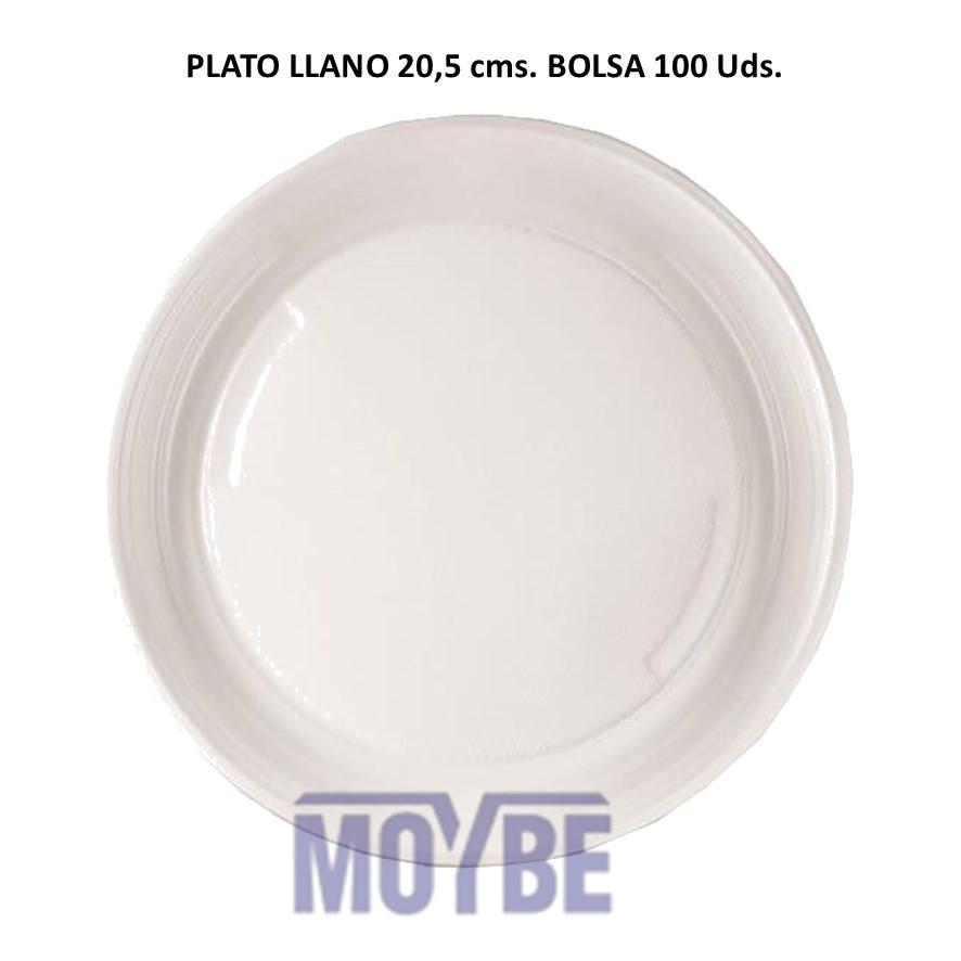 Plato Desechable Llano 20,5 Centímetros Paquete 100 Unidades