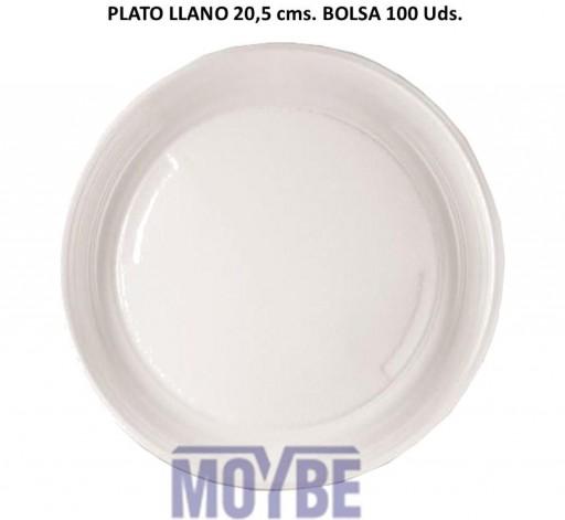 Plato Desechable Llano 20,5 Centímetros Paquete 100 Unidades [0]