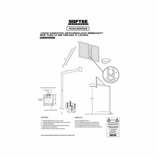JUEGO CANASTAS ANTIVANDALICAS MINIBASKET NEW TUBO 114 MM LACADA -INCLUYE AROS, REDES Y TABLEROS- 0012710 [2]