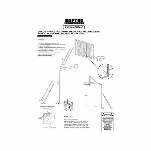 JUEGO CANASTAS ANTIVANDALICAS BALONCESTO TUBO 114 MM -INCLUYE AROS, REDES Y TABLEROS- LACADA - 0012730 [2]