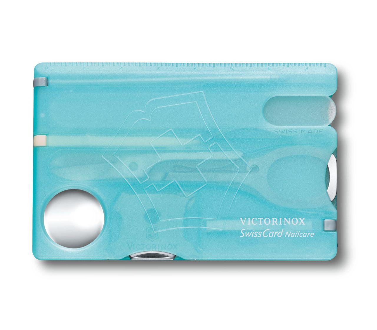 Tarjeta Multiusos Victorinox SwissCard Nailcare Azul Hielo  con lima de uñas de cristal 0.7240.T21