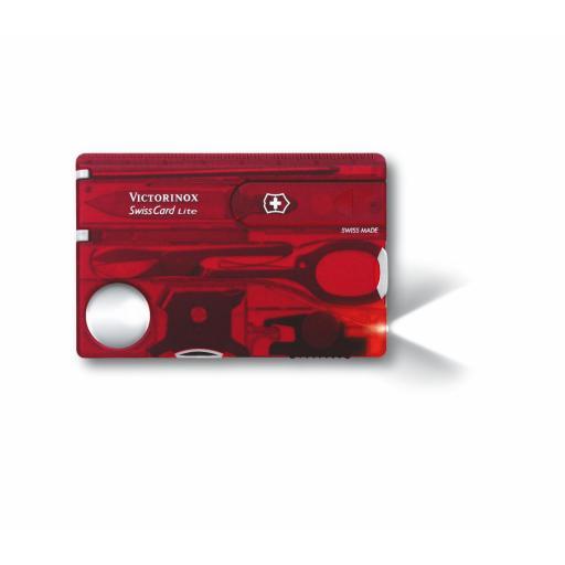 Tarjeta Multiusos Victorinox SwissCard Lite Rojo Translúcido 0.7300.T