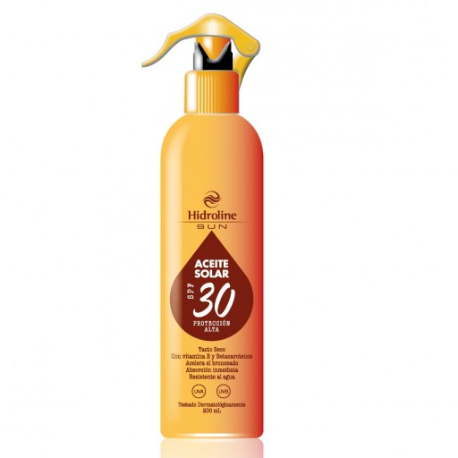 ACEITE SOLAR SPRAY SPF 30 CON ACELERADOR DEL BRONCEADO HIDROLINE SUN 200 ML. PROTEGE Y BRONCEA.
