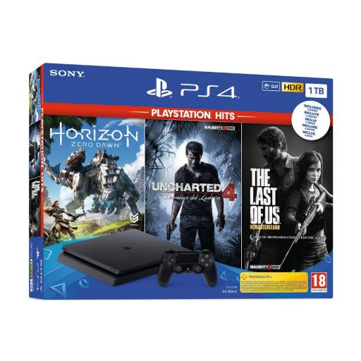 CONSOLA PS4 1TB + UNCHARTED 4 + THE LAST OF US + HORIZON ZERO DAWN