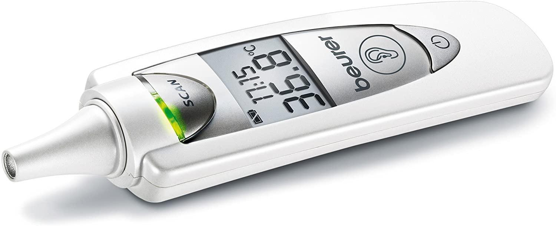 Beurer FT-55 - Termómetro, 3 mediciones en 1 (corporal, ambiente, superficie), 9 memorias, alarma de fiebre, color blanco