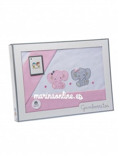 Juego de Sabanas Gamberritos Elefantitos  Rosa 10386