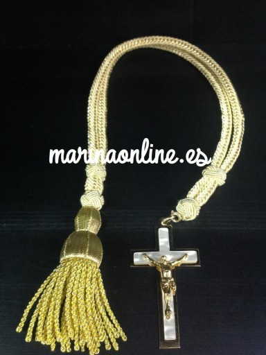 Cordón y Cruz Nacarada dorada