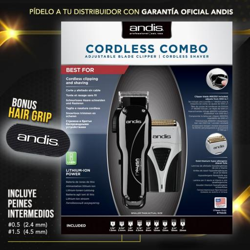 ANDIS  COMBO  SIN CABLES  USPROLI  + PROSHAVER [1]