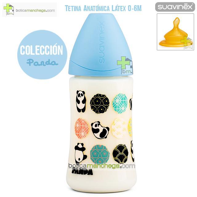 Suavinex Biberón Látex 270 ml 0-6M Tetina Anatómica T1 M Colección Panda Mod. Azul