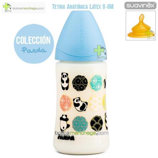 Suavinex Biberón Látex 270 ml 0-6M Tetina Anatómica T1 M Colección Panda Mod. Azul [0]