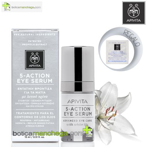 5-ACTION EYE NATURAL SERUM con Lirio Blanco y Ginseng Tratamiento 5 acciones Apivita para el Contorno de Ojos, 15 ml . REGALO: Contorno de Ojos Apivita a elegir, 1,5 ml