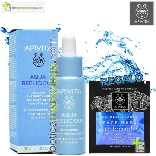 Aqua Beelicious Booster Hidratante y Refrescante con extracto de Flores y Miel, 30 ml. REGALO: Mascarilla Facial Hidratante y Antipolución con Lavanda de Mar, 8 ml