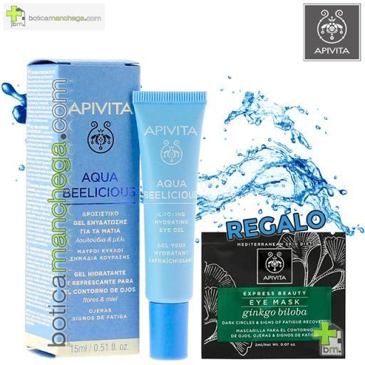 Aqua Beelicious Gel Hidratante y Refrescante para el contorno de ojos con extracto de Flores y Miel, 15 ml. REGALO: Express Beauty Mascarilla para el Contorno de Ojos Eye Mask A Elegir, 2 ml