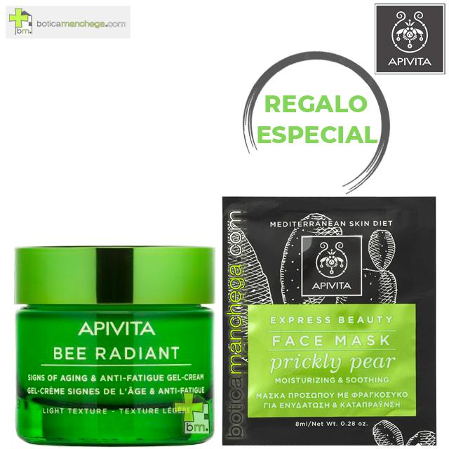 PROMO Bee Radiant Textura Ligera con Peonía Blanca y Propóleo Primeros Signos de la Edad, Luminosidad y Antigatiga Apivita, 50 ml + REGALO ESPECIAL: Mascarilla Facial, 8 ml