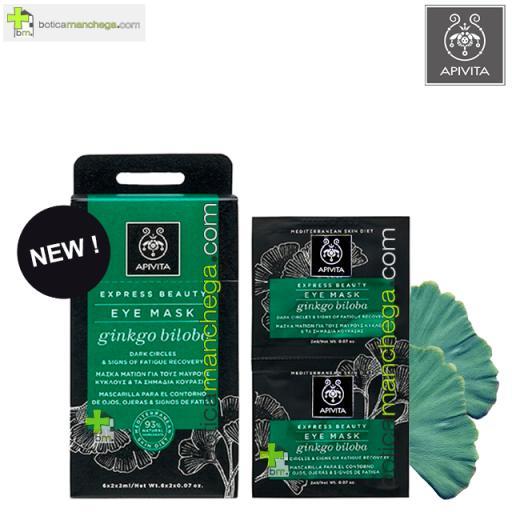 Mascarilla para el Contorno de ojos, ojeras, bolsas  y signos de fatiga con Ginkgo Biloba Express Beauty Eye Mask Apivita, 2 x 2 ml
