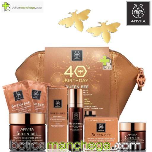 PROMO: Exclusivo Set Antienvejecimiento Apivita 40 Aniversario: Queen Bee Crema Textura Rica con Jalea Real Griega Fresca, 50 ml. REGALO: Queen Bee Serum, 10 ml + Queen Bee Crema Noche, 15 ml + Queen Bee Contorno de ojos, 3 ml + Neceser Edición Limitada