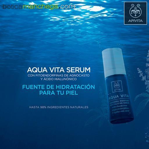 Aqua Vita Serum Hidratación Avanzada Revitalizante con fitoendorfinas de agnocasto y ácido hialurónico, 30 ml + REGALO: Cleansing Apivita A Elegir, 20 ml [1]