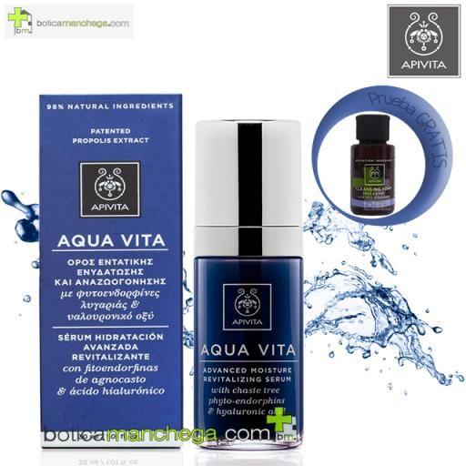 Aqua Vita Serum Hidratación Avanzada Revitalizante con fitoendorfinas de agnocasto y ácido hialurónico, 30 ml + REGALO: Cleansing Apivita A Elegir, 20 ml