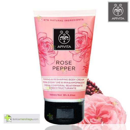 APIVITA Rose Pepper Crema Corporal Reafirmante & Remodelante con Pimienta Rosa y Rosa de Bulgaria, 150 ml