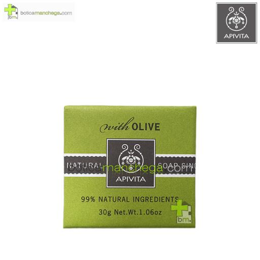Mini Natural Soap Olive Apivita Jabón Natural con Oliva y Geranio, 30 g