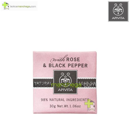 Mini Natural Soap Rose & Black Pepper Apivita Jabón Natural con Rosa y Pimienta Negra, 30 g