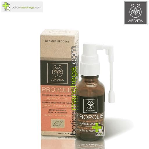 Propolis Spray Orgánico para la Garganta con Propóleo y Malvavisco Apivita, 30 ml