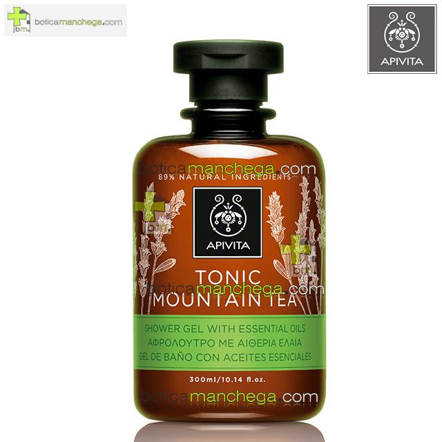 Apivita Tonic Mountain Tea Gel de Baño con Aceites Esenciales, 300 ml