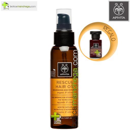 Aceite Capilar Nutritivo y Reparador Rescue Hair Oil Apivita con Argán y Oliva, 100ml. REGALO: Champú Cuidado Capilar Holístico A Elegir, 20 ml