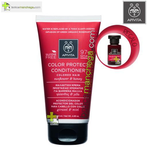 Apivita Acondicionador Protector del Color con Girasol y Miel, 150 ml + REGALO: Cuidado Capilar Holístico a Elegir, 20 ml