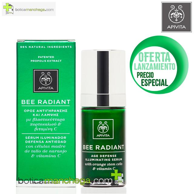 BEE RADIANT Serum Iluminador Defensa Antiedad, 30 ml + REGALO: Cleansing Apivita, 20 ml + Cuidado Facial A Elegir, 2 ml