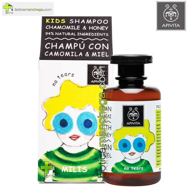 Kids Champú con Camomila y Miel Apivita, 250 ml