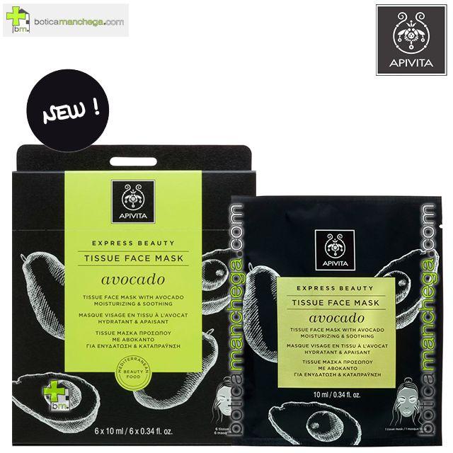Mascarilla Facial de tejido con Aguacate- Express Beauty Tissue Hidratante y Calmante  Apivita, 10 ml