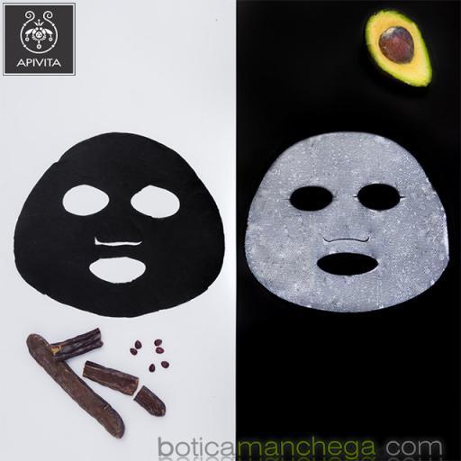 Mascarilla Facial de tejido con Algarroba y Carbón Vegetal Activo- Express Beauty Tissue Detox y Purificante Apivita, 20 ml [3]