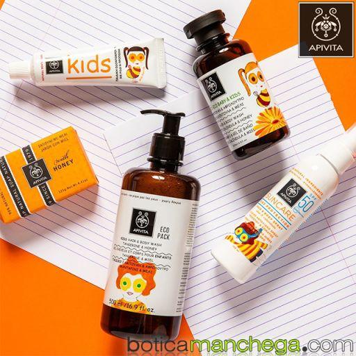 Kids Champú y Gel de baño con Mandarina y Miel ECO PACK Apivita, 500 ml [1]