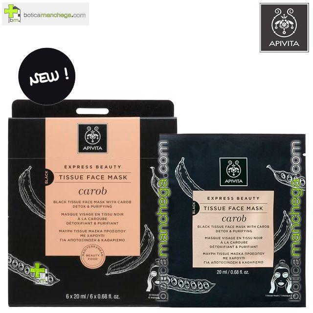 Mascarilla Facial de tejido con Algarroba y Carbón Vegetal Activo- Express Beauty Tissue Detox y Purificante Apivita, 20 ml