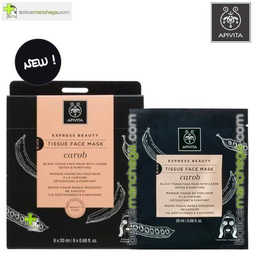Mascarilla Facial de tejido con Algarroba y Carbón Vegetal Activo- Express Beauty Tissue Detox y Purificante Apivita, 20 ml [0]