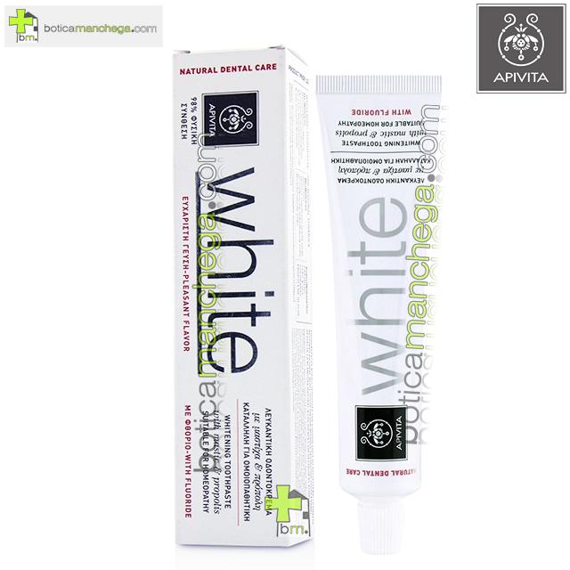Dentífrico Natural Dental Care con Flúor Crema Dental Blanqueadora con Mástica y Propóleo Apivita, 75 ml