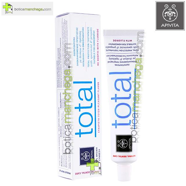 Dentífrico Natural Dental Care con Flúor Crema Dental Protección Total con Hierbabuena y Propóleo Apivita, 75 ml