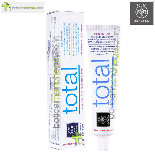 Dentífrico Natural Dental Care con Flúor Crema Dental Protección Total con Hierbabuena y Propóleo Apivita, 75 ml