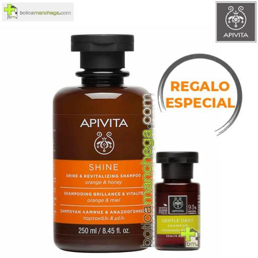 APIVITA Champú Brillo y Vitalidad con Naranja y Miel, 250 ml. REGALO: Cuidado Capilar Holístico a Elegir, 20 ml