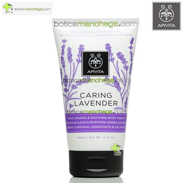 Apivita CARING LAVENDER Crema Corporal Hidratante y Calmante / Hipoalergénica, 150 ml