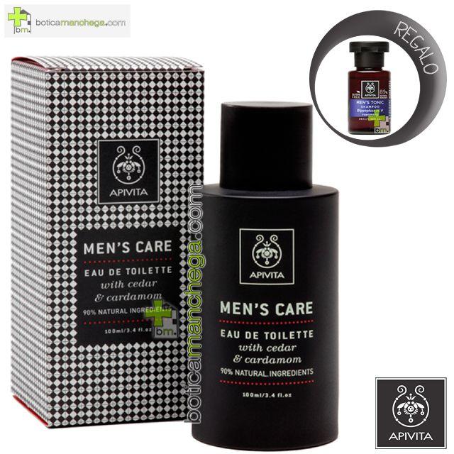 Apivita Men´s Care Eau de Toilette con cedro y cardamomo Cuidado Masculino, 100 ml. REGALO: Champú Tonificante para Hombres, 20 ml