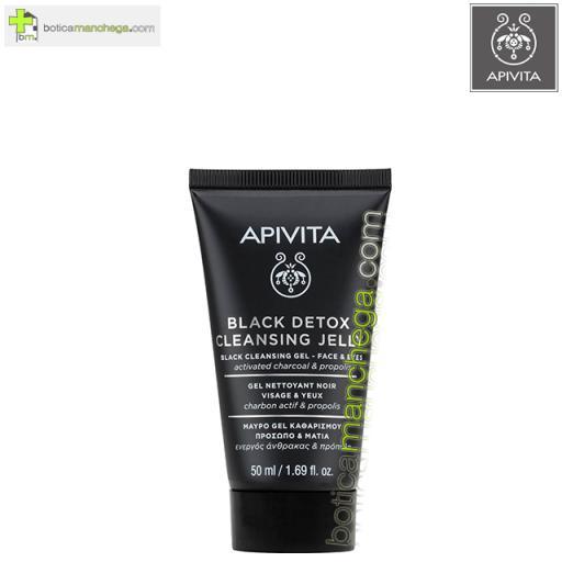 Mini Gel Limpiador Negro Apivita Cleansing Rostro y Ojos con Propóleo y Carbón Activo, 50 ml