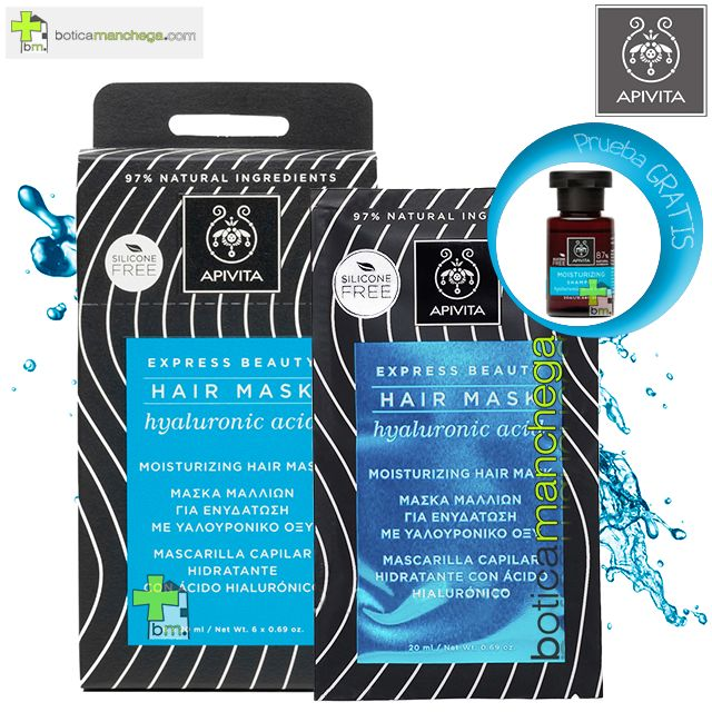 Mascarilla Capilar Hidratante con Ácido Hialurónico Express Beauty Apivita Hair Mask, 20 ml + Champú Cuidado Capilar Holístico A Elegir, 20 ml