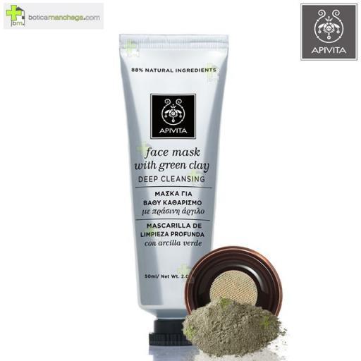 Mascarilla Facial Limpieza Profunda con Arcilla Verde Apivita, 50 ml